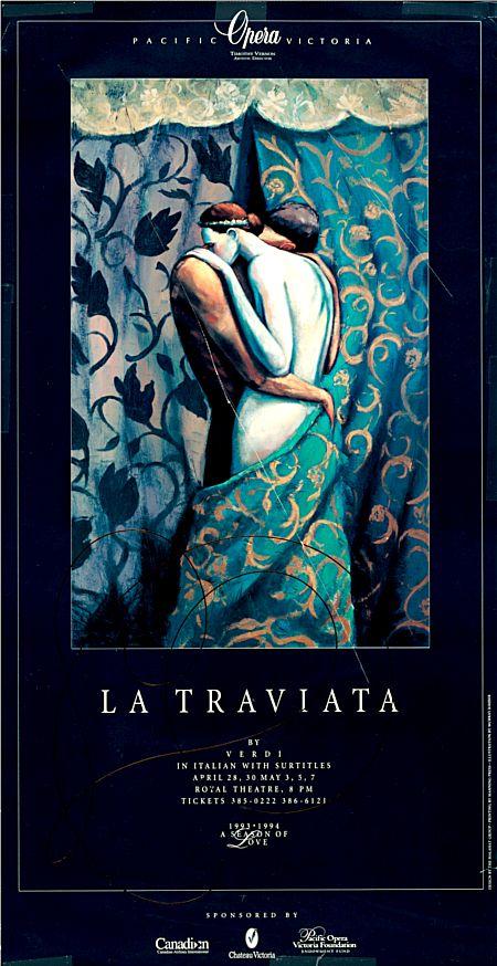 Poster for La traviata, April 1994. From Pacific Opera Victoria Productions