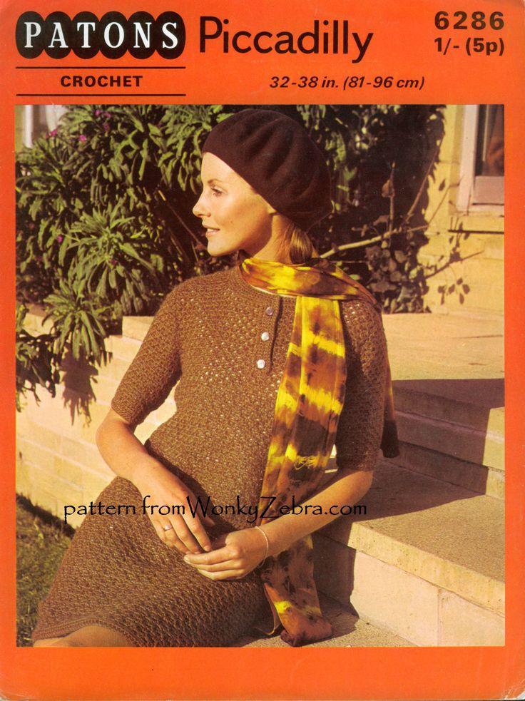 WZ163. mod crochet dress pattern with button neckline. patons 6286-$3 to buy from WonkyZebra.com