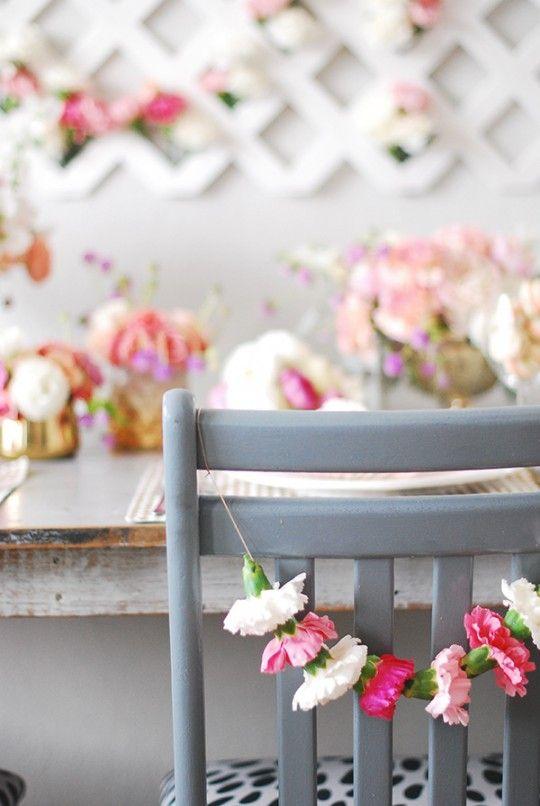 DIY Carnation Chair Garland