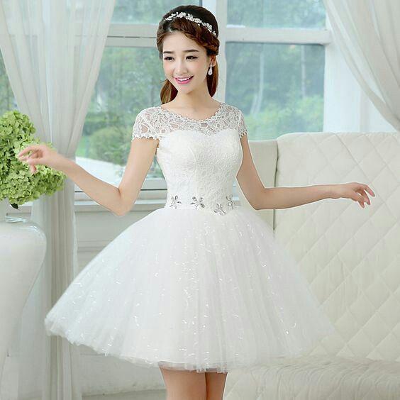 Hermoso vestido de tul para adolecentes silhouette for Affordable short wedding dresses
