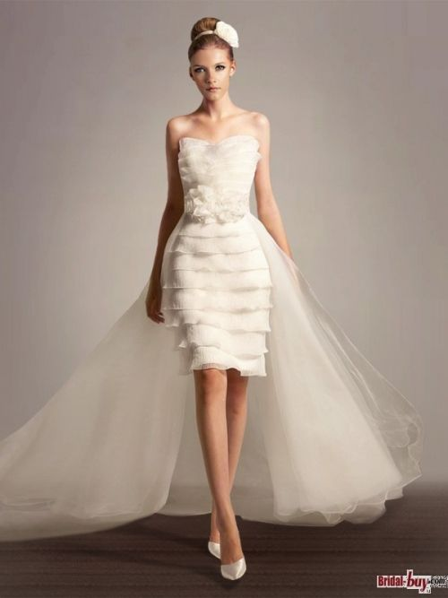 Unique Sheath/Column Strapless Tiered Flower Short Length Unusual Wedding Dress with Removable Train Under $200 WD20618 Bridal-Buy.com