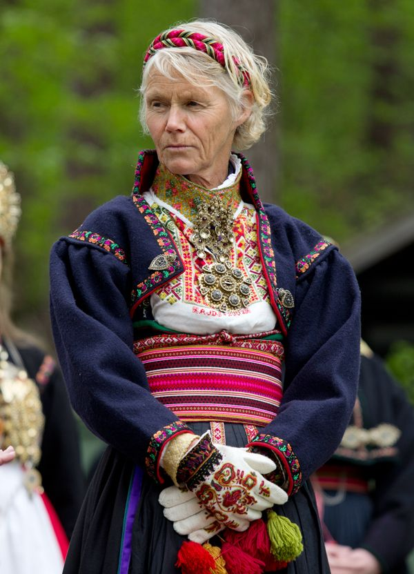 Fargerik bunad from Øst-Telemark. What a beautiful older woman! This is the home area my my maternal grandmother, Julia Serness Holt.