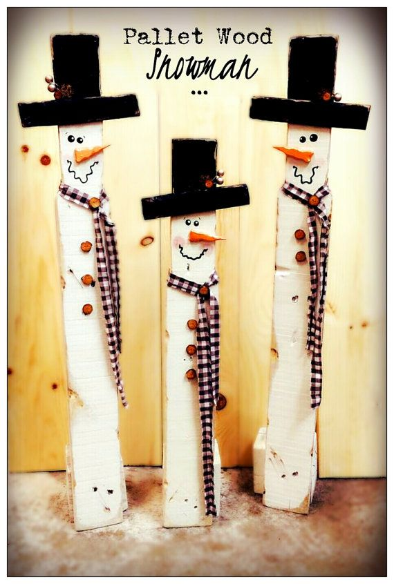 Pallet Wood Snowman by RedheadRedesigns3 on Etsy   Wood ...