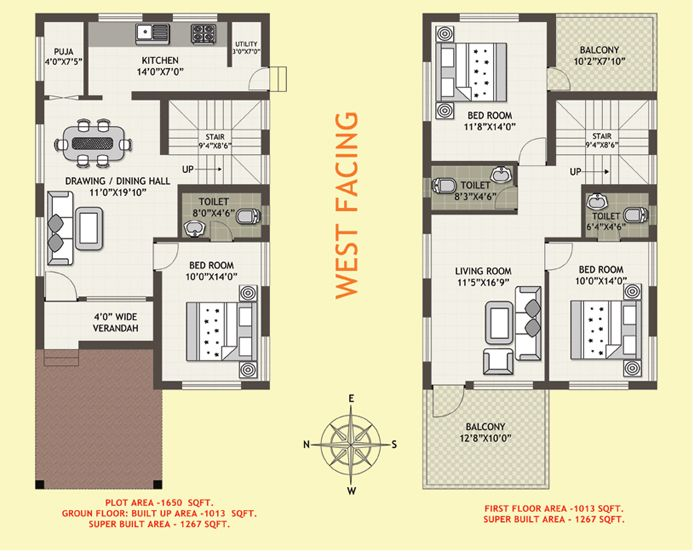 west facing house plan in small plots indian - Google Search