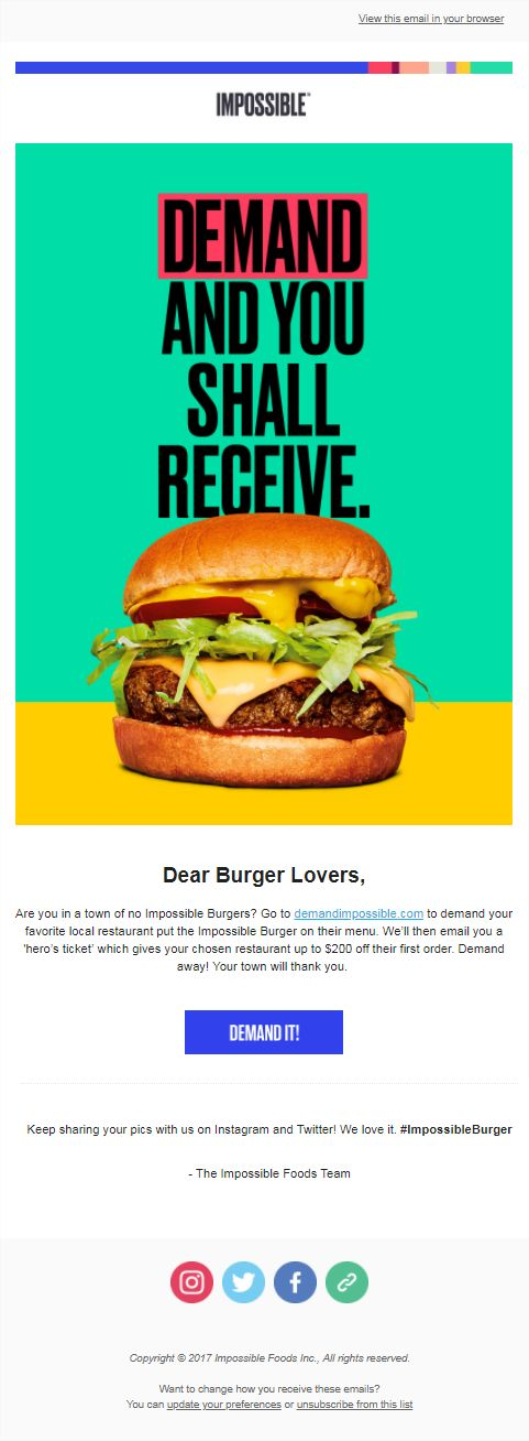 Large font, minimal CTA. Tasty burger image used with bright colours and removed from the background