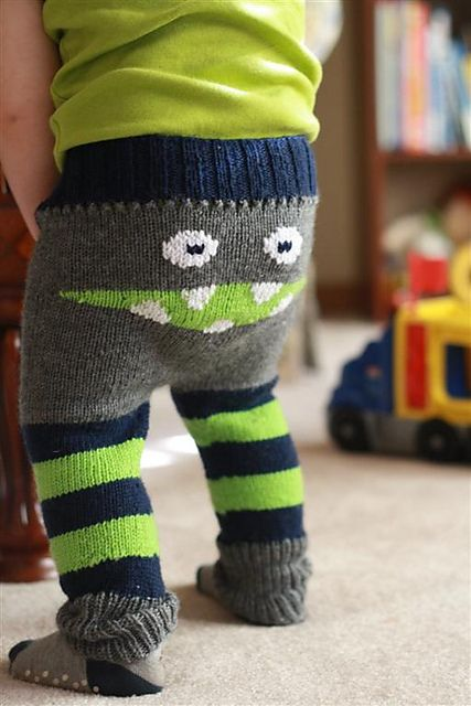 cute knitted monster leggings -- via Ravelry I take back everything I said about it not being fun to knit for boys!: