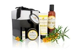 Gift Box - Large A wonderful collection of 4 of our luxurious Sea Buckthorn products - our rich Face Cream (60 ml), our signature Body Cream (75 ml), Sulfate-Free Body Wash (250 ml), and Spearmint Lip Balm (0.15oz). Presented in a black and white gift box adorned with ribbon. Gift giving made easy!  $55.95
