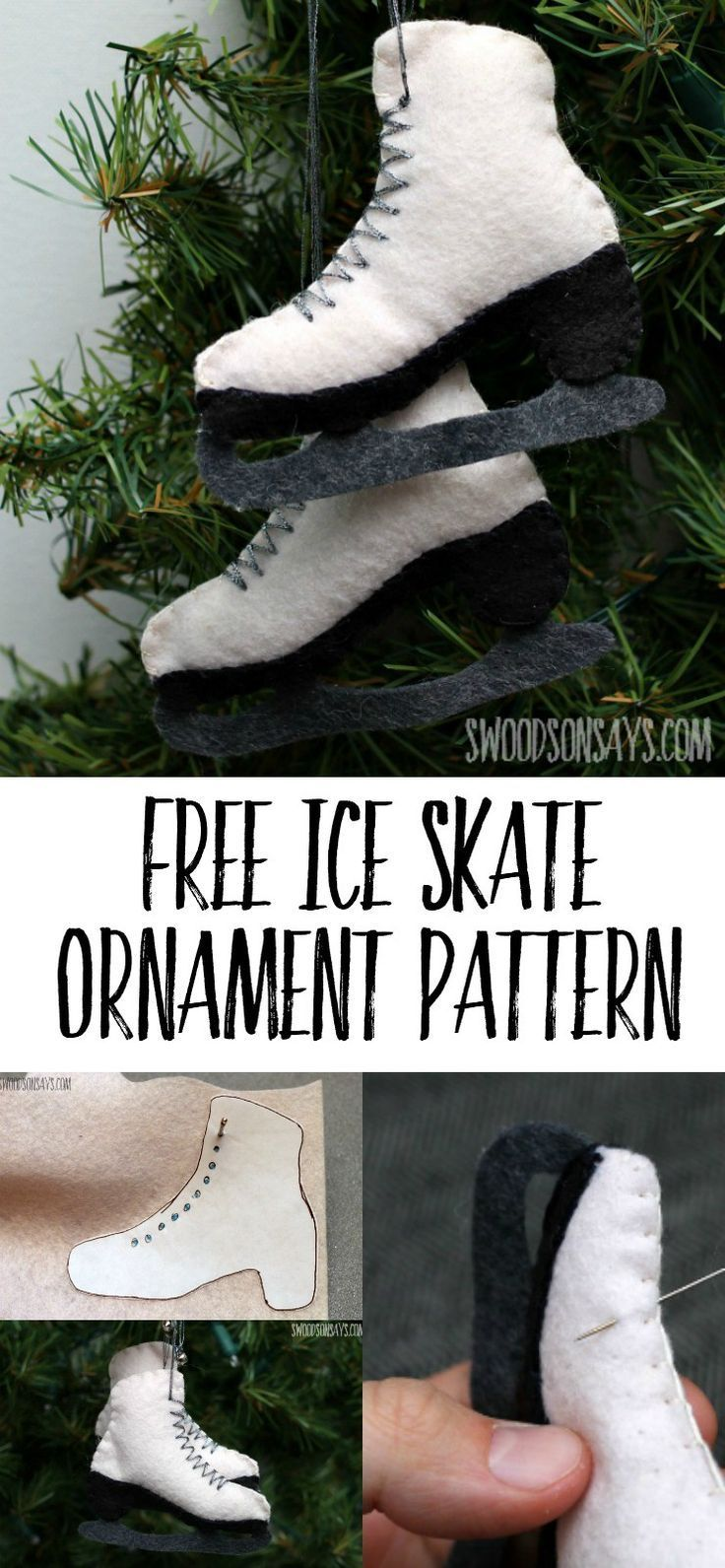A free felt ice skate ornament pattern, a perfect Christmas craft to gift or hang! No special skills needed, this is hand sewn with wool felt. #freeornamentpattern