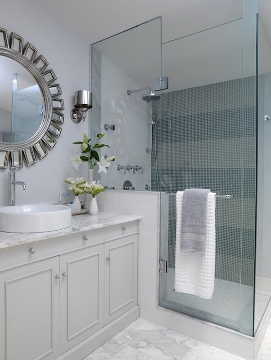 Sarah Richardson Design - bathrooms - ICI Dulux - Swiss White - striped shower, striped shower surround, striped shower tiles, walk in shower, sunburst mirror,