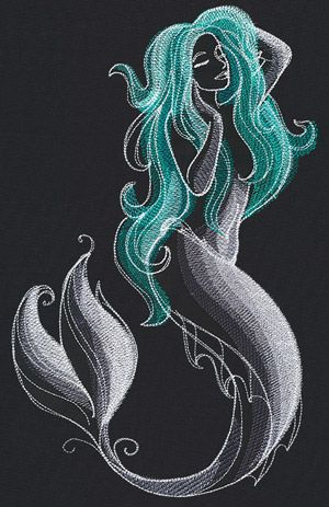 Enter a mystical world, where painterly stitches shed light onto this magical mermaid. Stitch these wonders on apparel, accessories, decor, and more!