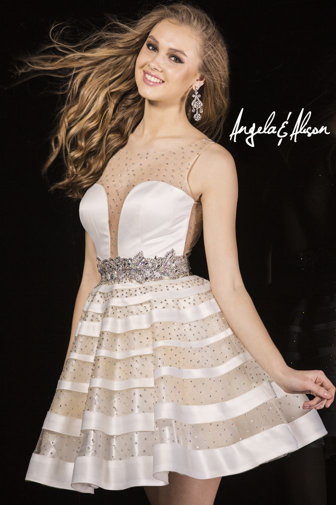 Style 42001 Illusion plunge neckline that halters with stripped overlay skirt.  Be the life of your Prom, Homecoming, Gala, Wedding, Formal, Graduation, Ball... etc.