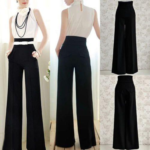 Women OL Career Slim High Waist Flare Wide Leg Long Pants Palazzo Trousers Black(China (Mainland))