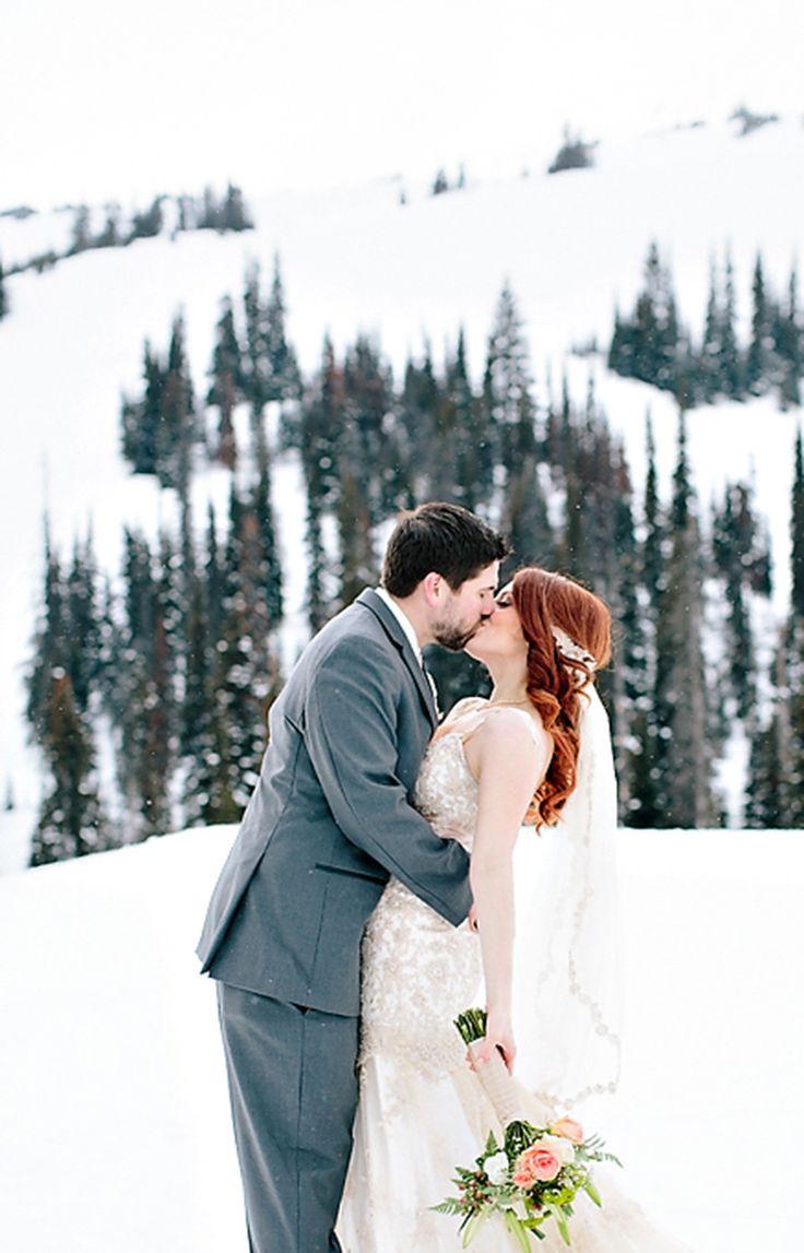 Winter bride & groom #snow #ski-resort Photography: Angela Hubbard  - www.hubbardphotography.com  Read More: http://www.stylemepretty.com/canada-weddings/2014/05/23/ski-resort-winter-wedding/