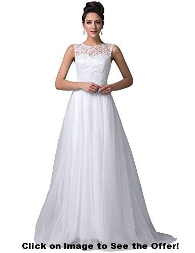 Grace Karin® Pure White Tulle Prom Ball Gowns Lace Bodice CL6108-3