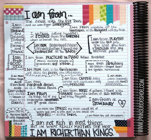 """""""i am from..."""" journal prompt-a good idea for a one day activity or during testing weeks"""