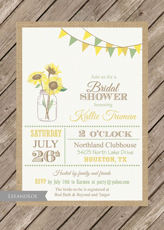 Sunflower Bridal Shower InvitationRustic Burlap Mason by LeeandLoe, $17.00