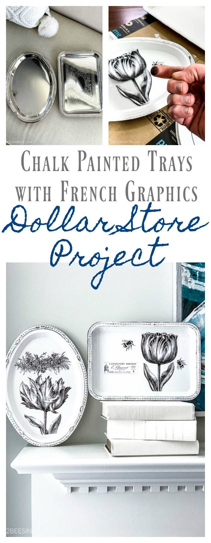 Plateaux peints à la craie avec graphismes français – My Dollar Store DIY