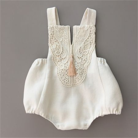 Baby Playsuit, Cream Linen with lace bodice, Tassel with pearl detail
