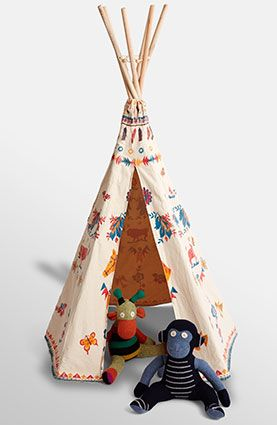 For the Fort Builder: A step above blanket-and-pillow hideouts, this painted-canvas teepee features designs by artist Nathalie Lete.