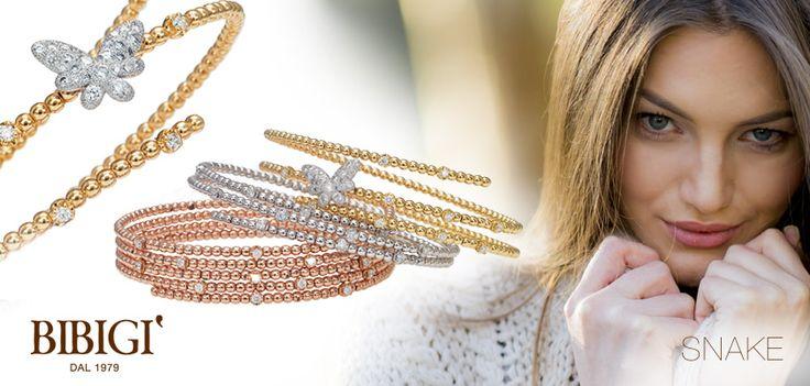 Bracciale / Bracelet Sinuosi e brillanti avvolgono dita e polsi. Sono gli anelli e i bracciali della collezione Snake di Bibigì, gioielli a forma di serpente in oro bianco, giallo e rosa impreziositi da diamanti bianchi, brown e rubini.