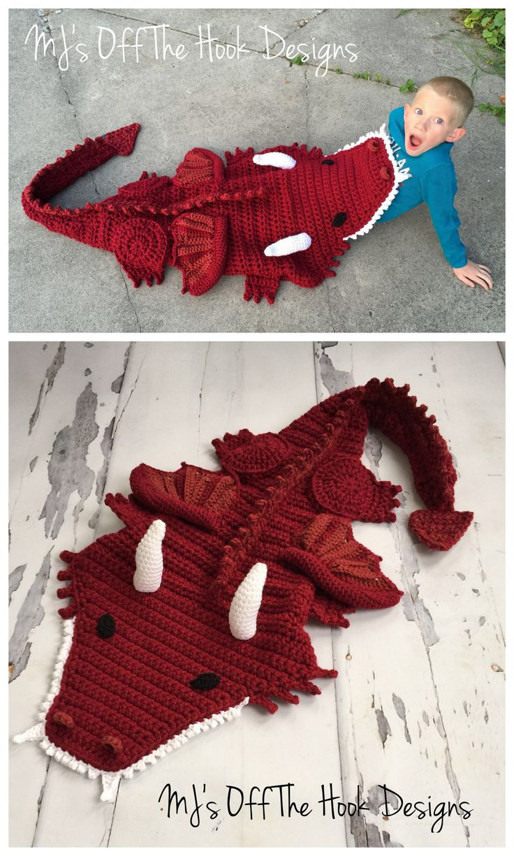 DIY Crochet Dragon Blanket from MJ's Off the Hook Designs.This $5.99 pattern for this DIY Crochet Dragon Blanket comes in newborn to adult sizes and works up quickly. These pay patterns are on Ravelry...