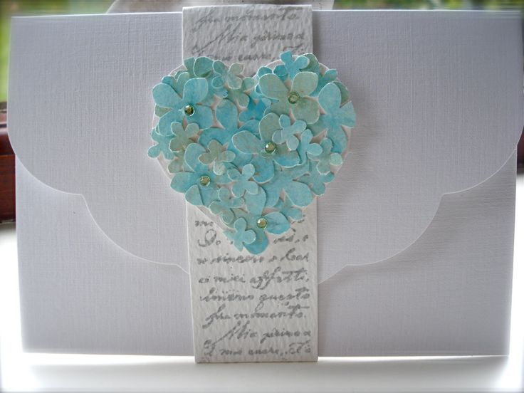 The ROCHELLE Range Vintage handmade wedding invitation french shabby chic Turquoise Sea Green Blue with RSVP