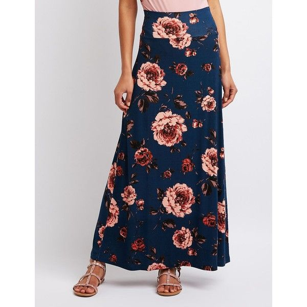 Charlotte Russe Floral Printed Maxi Skirt ($20) ❤ liked on Polyvore featuring skirts, teal, long skirts, teal maxi skirt, floral maxi skirt, floral skirts and long blue skirt