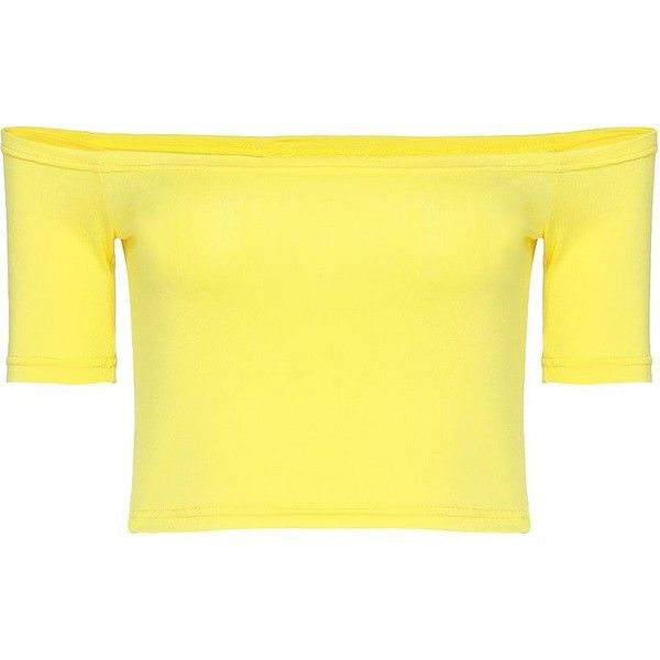 Yoins Yellow Stretch Crop Top ($14) ❤ liked on Polyvore featuring tops, shirts, yellow, stretchy shirts, crop shirts, stretch tops, shirts & tops and off the shoulder shirts