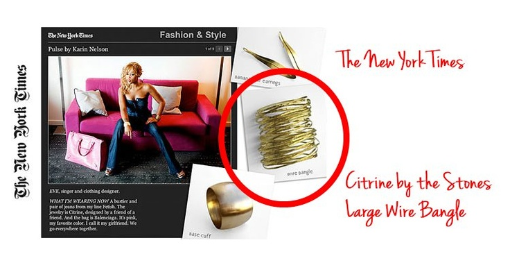 Singer Eve wearing the large wire bangle by Citrine!