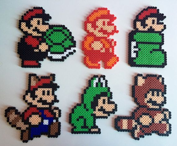 Super Mario Bros 3 Forms Perler Bead; Super Leaf, Tanooki, Frog, Goomba's Shoe, Fire Flower