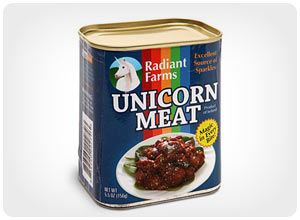 Nothing is more delicious than Canned Unicorn Meat. It really hits the spot when you are craving something with that added sparkle taste. Sold in traditional canned meat tins, Canned Unicorn Meat is the perfect gift for anyone who loves unicorns or has just a slightly off-beat sense of humor.