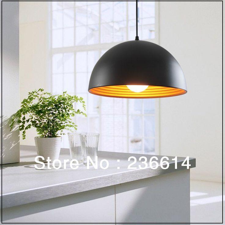 gratis verzending nieuwste korte modern hanglamp half ronde hanglamp bar lamp verlichting lampen in hanglampen 1. diameter: 18cm2. buitenkant zwarte kleur, innerlijke gouden kleur, kunnen wij ook doen witte kleur, van Pendant Lights op AliExpress.com | Alibaba Groep