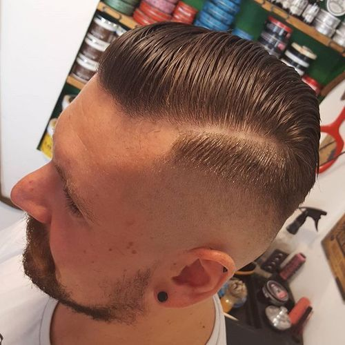 High Skin Fade Pompadour with side part