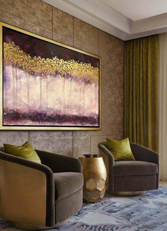 Grande Peinture à L Huile Art Mural Texture Dorée