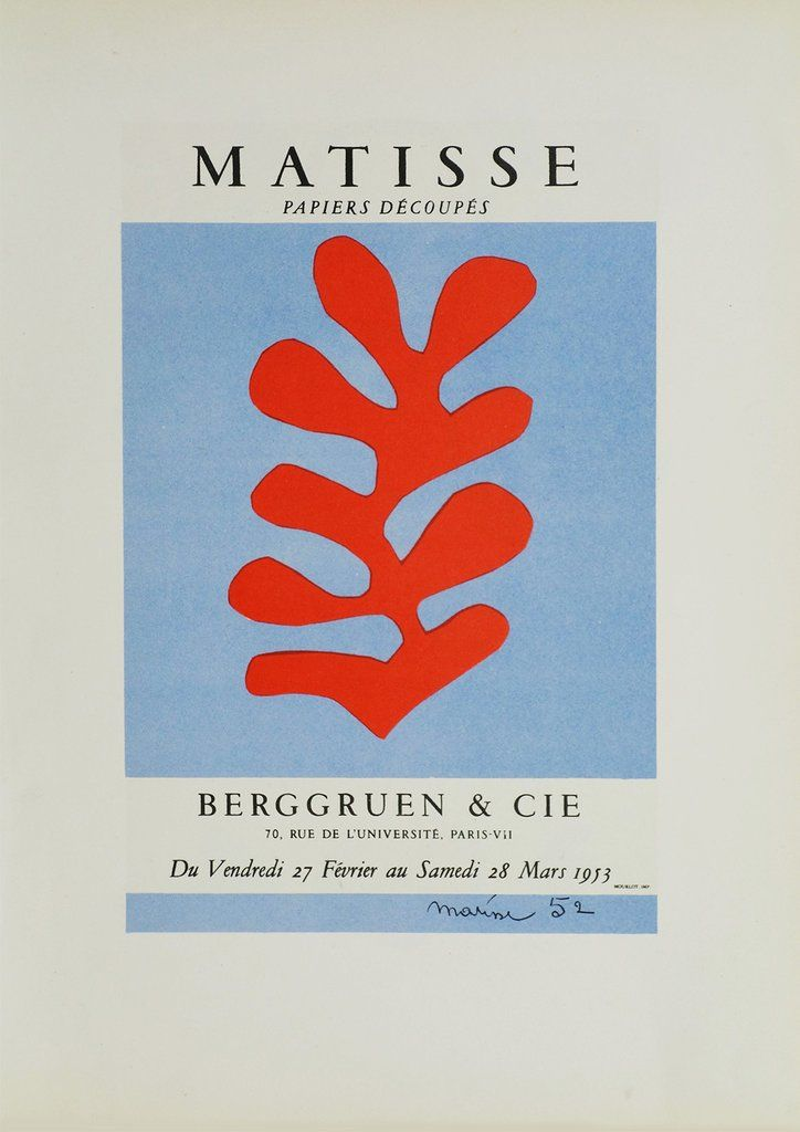 MATISSE EXHIBITION POSTER: Red Leaf / Algue Rouge Cut Out Print - The Print Arcade