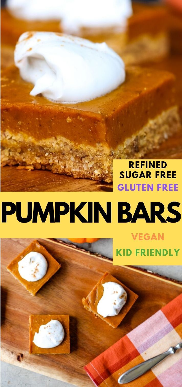These Easy Vegan Gluten Free Pumpkin Pie Bars Are Made With An Oat And Almond Flour Crust Gluten Free Pumpkin Pie Bars Dairy Free Pumpkin Pie Pumpkin Pie Bars