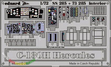 Colour Photoetch for 1/72 Lockheed C-130H Hercules Interior for Italeri kit