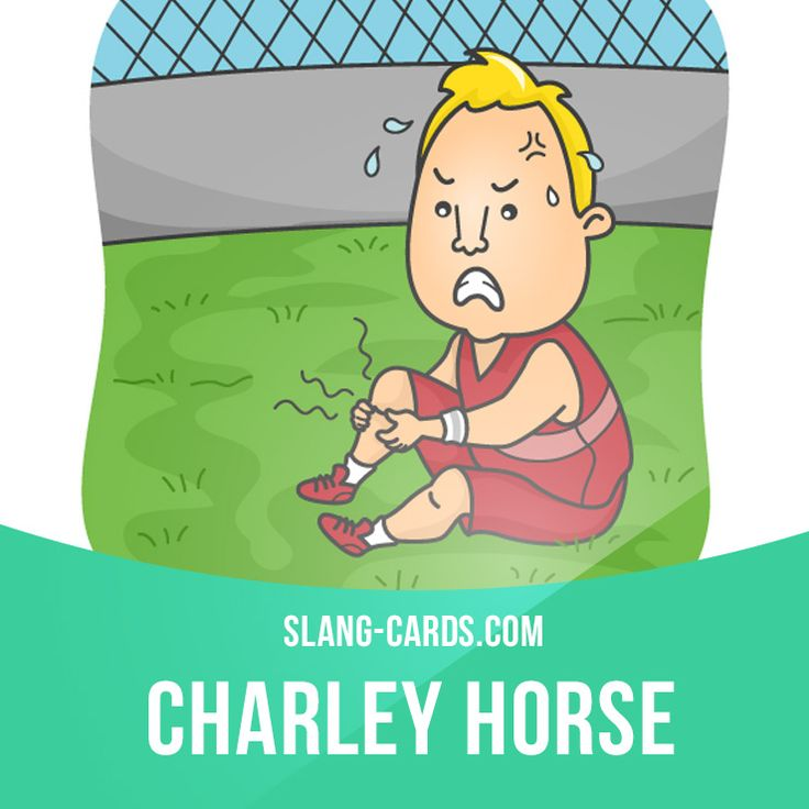 """""""Charley horse"""" means a painful muscle cramp. Example: I guess that football player got a charley horse in his leg. Get our apps for learning English: learzing.com"""