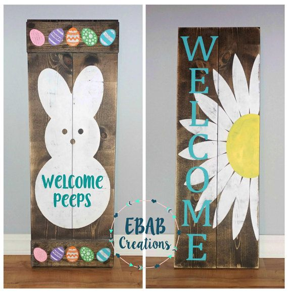 Reversible Sign Easter Sign Spring Sign Front by EBABCreations