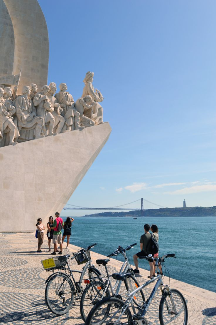 Monument of Discovers and Tagus River. Lisbon by Bike