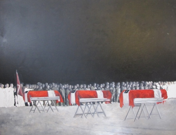 Det sidste farvel/Den højeste pris. Rampeceremoni for faldne danske soldater. Mathilde Fenger. Olie på lærred 2012