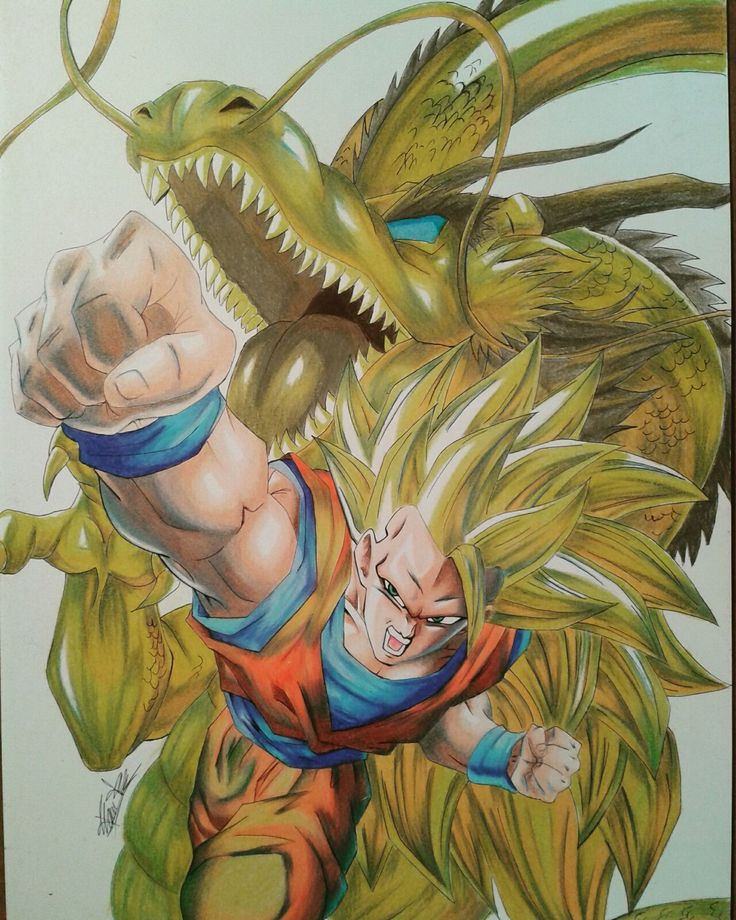 Prismacolor colored pencil drawing of Goku SSJ£ Dragon Fist (33x48)