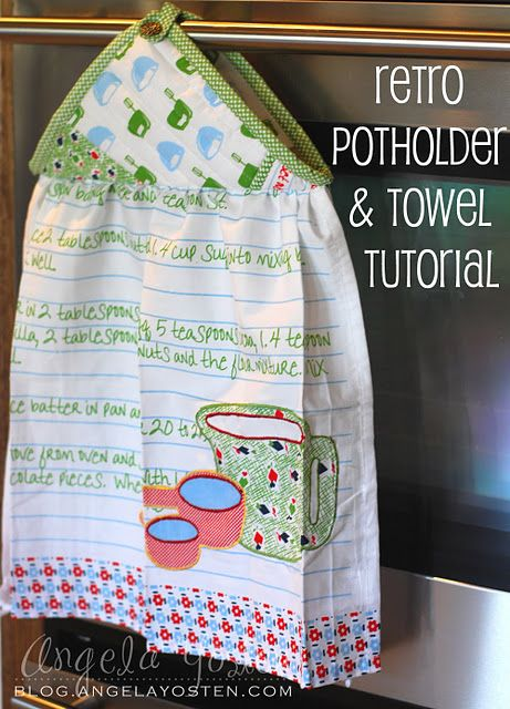 I get so tired of my towels falling off (or getting pulled off) the oven door.  What a cute and easy fix!