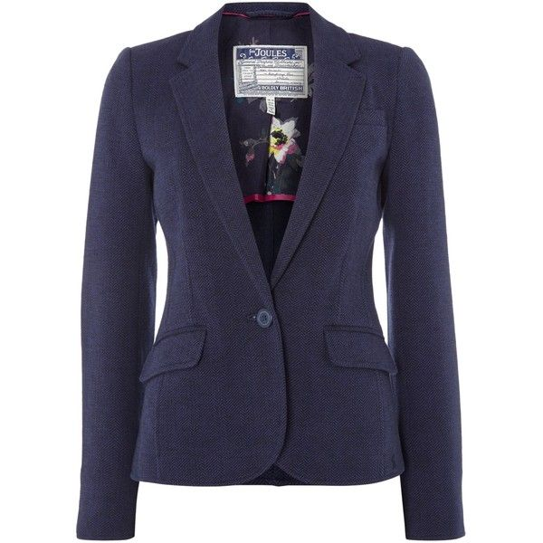 Joules Jersey Tweed Blazer (950 HKD) ❤ liked on Polyvore featuring outerwear, jackets, blazers, navy, women, blazers jersey, jersey jacket, blue blazer jacket, tweed jacket and navy blue jacket