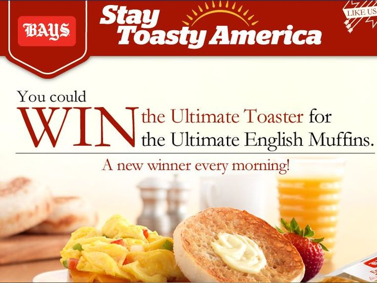 """Enter The Bays English Muffins """"Stay Toasty"""" Sweepstakes for a chance to win 1 of 31 Dualit Four Slice Toasters!"""