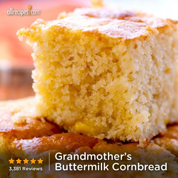 "Grandmother's Buttermilk Cornbread | ""I've made this several times now, following the recipe exactly, very good sweet cornbread. I give it it 5 stars, thanks for sharing!"""
