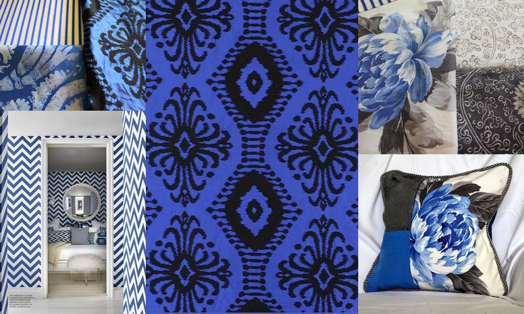 "Designers Guild Fabric, ""Pashan"" Embroidered Blue Silk Curtain Fabric, Upholstery Fabric"