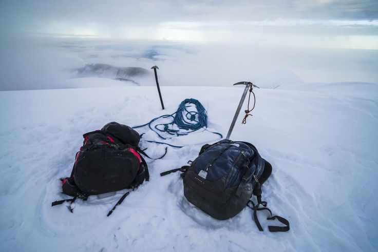 Climbing equipment on Cotopaxi Volcano 5,897m glacier covered summit, Cotopaxi National Park, Cotopaxi Province, Ecuador
