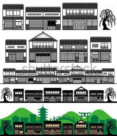 Machiya, Японские Традиционные Дома стоковый вектор - Clipart.me