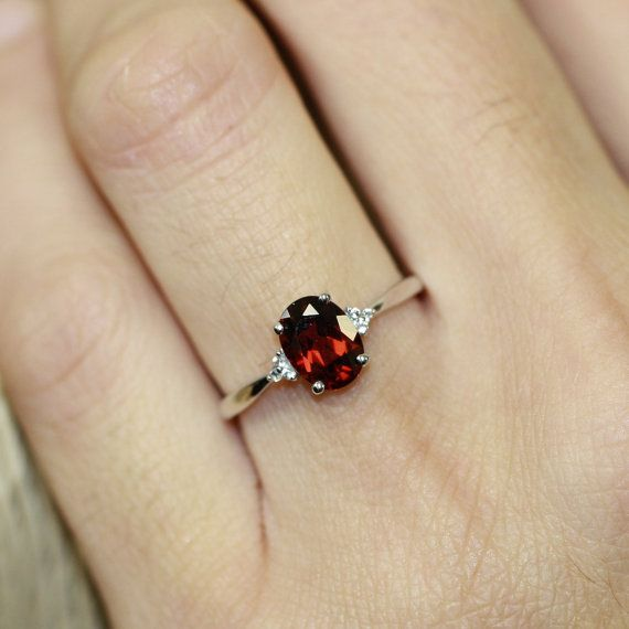 Oval Garnet 3 Stone Ring in 10k White Gold Garnet by LuxCrown